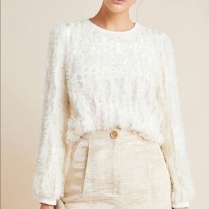NWT eri + ali Meriko Feathered Ivory Sweater XL